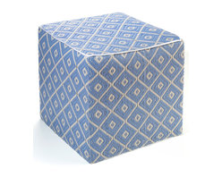 Fab Habitat - Veria Pouf, Faded Denim & White Sand - Hip to be square, this bright blue and ivory pouf is artisan made from weather-resistant materials, so you can use it indoors or out. Put a few around your media room or pool for extra seating or foot-raising comfort — or use them as colorful side tables. Style and practicality cubed.