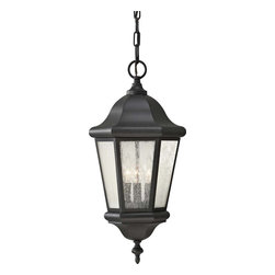 Murray Feiss - Murray Feiss Martinsville Transitional Outdoor Hanging Light X-KB1195LO - This Home Solutions Martinsville Transitional Outdoor Hanging Light is a timeless and elegant piece. Notice the simplicity of the frame in a sleek, black finish and the panels of clear seeded glass. It's a magnificent three-light fixture that's sure to cast a warm and welcoming light in any outdoor space.