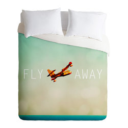 DENY Designs - Happee Monkee 'Fly Away' Duvet Cover - Turn your basic, boring down comforter into the super stylish focal point of your bedroom. Our Luxe Duvet is made from a heavy-weight luxurious woven polyester with a 50% cotton/50% polyester cream bottom. It also includes a hidden zipper with interior corner ties to secure your comforter. it's comfy, fade-resistant, and custom printed for each and every customer.