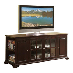 William's Imports - Williams 62 in. TV Stand in Espresso Finish - Open shelves for media storage at the sides. Two wooden doors and two glass doors. Constructed of P1 board. 62 in. W x 20 in. D x 25 in. H