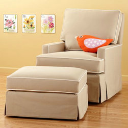 Khaki Sand Swivel Glider Chair and Ottoman - This glider has great reviews and you can customize it with many fabric and piping options.