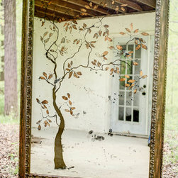 """""""Taurean Tree"""" Antiqued Mirror - Large artisan mirror features a silhouette tree motif with bright gold-leafed leaves, against a smokey antique mirror background.  A favorite among our fans and customers, this wall mirror is sure to be the focal point in your home!  NOTE: the entire design is created completely on the back of the mirror. Artisan-crafted, made to order, and one of a kind.  Please call or visit the website to inquire."""