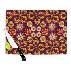 "Kess InHouse - Jane Smith ""Indian Jewelry Floral"" Purple Gold Cutting Board (11.5"" x 15.75"") - These sturdy tempered glass cutting boards will make everything you chop look like a Dutch painting. Perfect the art of cooking with your KESS InHouse unique art cutting board. Go for patterns or painted, either way this non-skid, dishwasher safe cutting board is perfect for preparing any artistic dinner or serving. Cut, chop, serve or frame, all of these unique cutting boards are gorgeous."