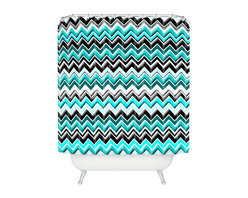 DENY Designs - madart inc Turquoise Black White Chevron Shower Curtain - Who says bathrooms can't be fun? To get the most bang for your buck, start with an artistic, inventive shower curtain. We've got endless options that will really make your bathroom pop. Heck, your guests may start spending a little extra time in there because of it!