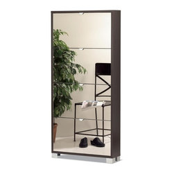 Sarmog - Shoe Rack With 4 Folding Single-Depth Mirror Doors With Wenge Base - If you are in need of a shoe rack, why not consider this upscale shoe rack from the Sarmog Quadrante collection? Perfect for more modern settings, this quality shoe rack is floor standing and coated with wenge.