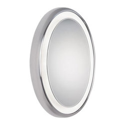 Tech Lighting - Tigris Surface Oval Mirror by Tech Lighting - Fresh and clean, the Tigris Surface Oval Mirror by Tech Lighting adds modern, sophisticated illumination and reflection to a bathroom. The oval mirror floats within a white ring that diffuses a flattering, shadow-free wash of task and ambient light. The plated, pressure-formed frame is available in a Chrome or Satin Nickel finish. ADA compliant.Tech Lighting, headquartered in Skokie, IL, is known for their innovative lighting systems and exquisite lighting designs. Their passion for art, sophistication and imagination is balanced by rigorous testing and quality control in the creation of their line-voltage and low-voltage lighting, including the Tech Lighting FreeJack and monorail systems and track heads.The Tech Lighting Tigris Surface Oval Mirror is available with the following:Details:Glass mirrorWhite diffuserPlated, pressure-formed frameDimmable with standard incandescent dimmer12 Volt transformerADA CompliantETL ListedOptions:Finish: Chrome, or Satin Nickel.Lighting:Eight 20 Watt 12 Volt Bi-pin Halogen lamps (included).Shipping:This item usually ships within 3 to 5 business days.