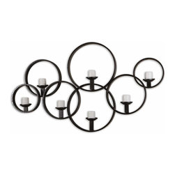 Uttermost - Kadoka Decorative Iron Wall Art Candle Holder with Ivory Candles - Wall  art  creates  the  focal  point  of  any  room,  and  this  unique  hand-forged  metal  candle  holder  is  both  imposing  and  sophistocated.  Perfect  for  any  setting  from  formal  to  rustic,  the  dark  black  finish  contrasts  beautifully  against  the  ivory  candles.  Circular  iron  frames  surround  each  candle.  This  beautiful  candle  grouping  adds  style  as  well  as  sophistication  with  the  iron  frames  for  individual  candles.  The  non-symmetrical  style  works  as  well  in  modern  spaces  as  it  does  in  more  traditional  ones.