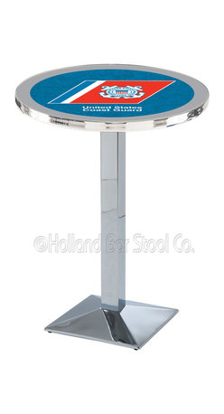 Holland Bar Stool - Holland Bar Stool L217 - Chrome U.S. Coast Guard Pub Table - L217 - Chrome U.S. Coast Guard Pub Table  belongs to Military Collection by Holland Bar Stool Made for the ultimate sports fan, impress your buddies with this knockout from Holland Bar Stool. This L217 U.S. Coast Guard table with square base provides a commercial quality piece to for your Man Cave. You can't find a higher quality logo table on the market. The plating grade steel used to build the frame ensures it will withstand the abuse of the rowdiest of friends for years to come. The structure is triple chrome plated to ensure a rich, sleek, long lasting finish. If you're finishing your bar or game room, do it right with a table from Holland Bar Stool.  Pub Table (1)