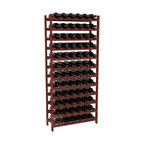 72 Bottle Stackable Wine Rack in Redwood with Cherry Stain - Four kits of wine racks for sale prices less than three of our 18 bottle Stackables! This rack gives you the ability to store 6 full cases of wine in one spot. Strong wooden dowels allow you to add more units as you need them. These DIY wine racks are perfect for young collections and expert connoisseurs.