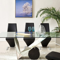 Pantek 3112 Dining Table - This modern Italian Design extendable dining table comes in a SILVER color that will give your dining space a clean and elegant new look.