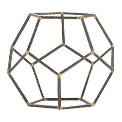 Arteriors - Harmon Accessory, Large - These hammered iron rods have been welded together with brass to create pentagons which have then been assembled into a freestanding sculpture. These look great in a bookcase, sitting on top of a stack of books, or they can cage an orchid.