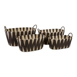 IMAX - Lahja Woven Basket - Set of 4 - Woven paper packs a surprisingly sturdy punch in a quartet of nesting baskets for a new twist on storage.
