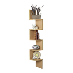 Danya B. - Laminated Veneer Corner Wall-Mount Shelf, Beech - Decorative corner wall shelves makes space utilization possible from any corner. Creative design and space saving solution for small areas. Display collectibles, photos, toys, awards, CD's, videos, decorative items and more. Attaches to both sides of the wall with only 2 nails or screws. MDF & laminate. With its contemporary walnut finish, beech or maple grain or classic white, they are the ideal accent for any living space. Minor assembly is required.