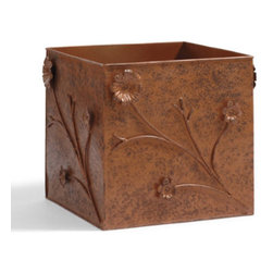 Grandin Road - Floral Outdoor Planter Box - So attractive, with its botanical embellishments, plants nearly aren't necessary. Artfully conceived and masterfully handcrafted by artisans from sturdy steel for years of service in the open air. A distinctive antiqued-rust finish enhances the box's beauty and protects the metal from the effects of moisture. Break out of the usual ceramic or resin planter routine by enhancing the beauty of your home with our steel, Floral Outdoor Planter Box. Whether it's for a patio, porch, or garden, our striking metal planter provides a unique level of visual interest others simply can't duplicate. The symmetry of two placed at an entryway is something to behold. So attractive, with its botanical embellishments, plants nearly aren't necessary .  . A distinctive antiqued-rust finish enhances the box's beauty and protects the metal from the effects of moisture .