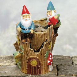 Coyne's Company - Gnome Fountain - Hand Glazed Porcelain UL Pump and Pebbles Included Gift Boxed