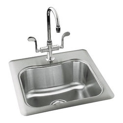 """Kohler - Staccato Single-Basin Self-Rimming Entertainment Sink - This is a tasteful sink with a convenient design. Its 18-gauge stainless steel make provides a bold and durable product that will last for a very long time. This model has single-hole faucet drillings as well as the SilentShield which reduces noise made from dishes and water. The Essex faucet, strainer, and cuting board are excellent additional options you can add on to your kitchen sink. Sink Features: -Available with 1, 2 or 3 hole faucet hole drilling.-Faucet, strainer, and handles not included.-18-gauge stainless steel.-SilentShield reduces disposal noise and vibration.-Water depth: 8"""".-Overall dimensions: 8.31"""" H x 20"""" W x 20"""" D."""