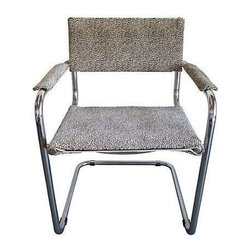 """Pre-owned Italian Mid-Century Cantilever Chair - Classic vintage Italian Stam/Breurer-style chromium tubular cantilever armchair freshly recovered in premium woven cheetah textile. Seat measures 18""""H from floor. A sexy Italian piece for the corner of your bedroom of to pull up with an assortment of vintage chairs at the kitchen table!"""