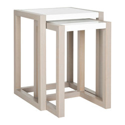 White & Wood Nesting Tables - When conserving space is important, these stacking tables will come in handy. After you're done using them, tuck one under the other and slip them away into a discreet corner.