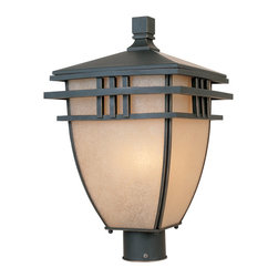 Designers Fountain - Designers Fountain Dayton Traditional Outdoor Post Lantern Light X-PBA-63803 - Subtle oriental nuances and classic mission inspired styling add to the appeal of this Designers Fountain outdoor post lantern light. From the Dayton Collection, the frame features a rich Aged Bronze Patina that softens the clean lines while complimenting the curvilinear frame. An elegant ochere glass shade pulls the look together.