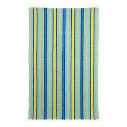 Fab Habitat - Serene Indoor Cotton Rug, Heritage Blue & Lemon Drop, 3x5 - Hand-woven from recycled cotton, this soft area rug is loaded with casual charm. Use it to dress up an informal space or to relax a traditional setting. With its classic stripes and spirited colors, it's sure to set off sparks.