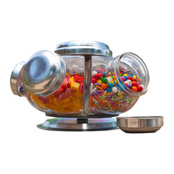GO Home - Vintage Inspired Revolving Candy Jars - Make your home your own candy store with our Vintage Inspired Revolving Candy Jars. Hand out Halloween candy with options, and definitely keep within reach for your children and your own sweet tooth!