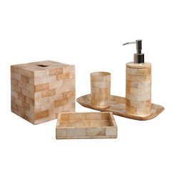 Six Piece Elegant Brick Capiz Bathroom Set - Make your bathroom the sensual space it deserves to be with the Elegant Brick Capiz Bathroom Set, a collection of six vital accessories for the bathroom counter that make the room polished and pleasing.  Each is tiled in cut capiz shell which was sustainably collected and responsibly used by artisans in the Philippines; alternating white and honey colors give a warm, inviting Classical effect to the accessories' sleek designs.
