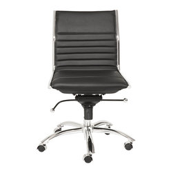 Euro Style - Euro Style Dirk Low Back Office Chair without Arms 01266BLK - High or low. Armrests or not, the Dirk design is very popular for all the right reasons. The front of the seat and the top of the back are one-piece sections for a finished look. The inner seat and lower back are flat bungee bands which offer outstanding comfort that is famous everywhere in the known world.