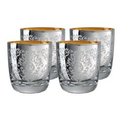 Artland Brocade Double Old-Fashioned Glass Set, Silver - The contrasting interior color of these highball glasses is a nice surprise. They're also inexpensive, so you can buy a bunch of them to use as cocktail glasses, candleholders or small vases.