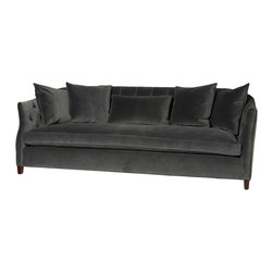 "Kathy Kuo Home - Luccia Hollywood Regency Feather Down Charcoal Gray Sofa - 84"" - This sofa is one of those rare examples of generous proportion and sleek silhouette, as evidenced in the high, curved arms which feature a tufted inner side.  Stylish, tailored and at the same time extremely practical for everyday life, this piece would fit seamlessly into many contemporary spaces and provide great comfort while doing so.  Upholstered in a seductive gray cotton velvet, this sofa can also be covered in whatever fabric you choose. The possibilities are endless and the guarantee on the frame is for life.  Includes  one (1) x 26 x 15 x 2 and four (4) x 22 x 22 down loose cushions."