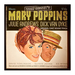 "mmm designs - Glittered Vintage Glittered Mary Poppins Album Cover - Glittered record album. Album is framed in a black 12x12"" square frame with front and back cover and clips holding the record in place on the back."
