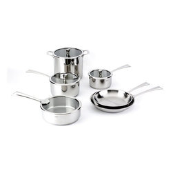"Cristel - Cristel Casteline Fix Multiply Stainless 10 Piece Cookware Set - The base is made out of an alloy of stainless steel and aluminum. The heat is simultaneously spread over the whole surface of the base and sides. For gentle, economic cooking with no risk of sticking and protecting all the nutritional qualities of food. Multicooking: suitable for all cooking cooktops; can also be placed on the oven (with or without the lid). 18/10 polished finish. Water or fat are not needed for cooking. Keeps temperature during table service. Wide and efficient Pouring edge. Dishwasher safe.. Inside grading. This set includes:     (01) Stainless Sauce Pan With Flat Glass Lid 1.80-qt.     (01) Stainless Sauce Pan With Flat Glass Lid 3.38-qt.     (01) Stainless Frying Pan 9.45""     (01) Stainless Frying Pan 11.02""     (01) Stainless Saute Pan With Flat Glass Lid 3.80-qt.     (01) Stainless Stockpot With Flat Glass Lid 7.61-qt. Made in France. Glass on lids are made in Japan."
