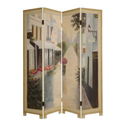 Paris Promenade Screen - Who said three's a crowd? You'll want to jump right in and join this couple in their leisurely stroll down the avenue. Create a cozy breakfast nook or block off your home office from your bed so you can have a more peaceful place to rest.