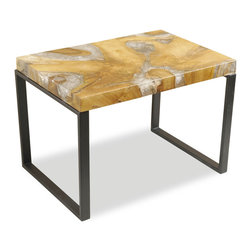 Kathy Kuo Home - Molenaar Rustic Lodge Teak Root Resin Rectangle Side Table - The perfect blend of rustic and industrial, this teak and cracked resin top sits atop a black metal base, waiting to hold cocktails, desserts or coffee. Golden earth tones lend a lodge-like mood to any room.