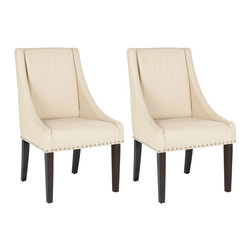 Safavieh - Safavieh Britannia Kd Side Chairs X-2TES-B2074RCM Set of 2 - The clean lines, exposed nickel nail heads and gracefully sloped arms of the cream-colored leather clad Britannia, with legs in an espresso finish, dress up any dining setting. Slightly tapered legs, crafted from sturdy birch wood, and the upholstered seat and backrest ensure comfort of Britannia.