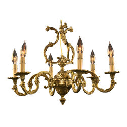EuroLux Home - Consigned Vintage French Rococo Chandelier 6 Arms - Product Details