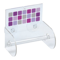 Printed Acrylic Toilet Tissue Holder + 2 Suction Pads Mosaic Parma - This printed toilet tissue dispenser Mosaic for bathrooms is in clear acrylic with a colored square pattern. It has 2 suction pads to be easily fixed to your tiles. Length 5.51-Inch, width 3.94-Inch and height 5.71-Inch. Wipe clean with a damp cloth. Color pink and Parma. An attractive way to dispense toilet tissue and to add an elegant design to your bathroom! Complete your Mosaic decoration with other products of the same collection. Imported.