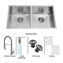 Vigo - All in One 32in.  Undermount Double Bowl Kitchen Sink and Chrome Faucet Set - Breathe new life into your kitchen with a VIGO All in One Kitchen Set featuring a 32in.  Undermount kitchen sink, faucet, soap dispenser, two matching bottom grids and two sink strainers.