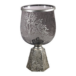 Sterling - Sterling 112-1131 Smoked Glass Jar With Etching Set On Silver Leaf Base - Sterling 112-1131 Smoked Glass Jar With Etching Set On Silver Leaf Base