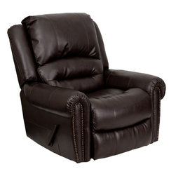 Flash Furniture - Flash Furniture Plush Brown Leather Rocker Recliner - MEN-DSC01056-BRN-GG - This motion recliner will provide you comfort with the added bonus of the rocking feature. The rocker recliner can not only be used in the living room, but makes for a great nursery chair. The gentle back and forth rocking is soothing to both babies and adults. Beautiful brass nail trimming adds an elegant touch to the recliner. The thick cushions add to the comfort level to provide you comfort while you relax. The durable leather upholstery allows for easy cleaning and regular care. [MEN-DCS01056-BRN-GG]