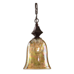 Uttermost - Uttermost 21812 Elba 1 Light Spice w/ Iridescent Crackle Glass Mini Pendant - Spice Finish with Iridescent Crackle Glass