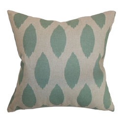 "The Pillow Collection - Juliaca Ikat Pillow Eaton Blue Linen 18"" x 18"" - Make this ikat throw pillow the centerpiece for your living room or bedroom. This accent pillow comes with a catchy ikat print pattern in eaton blue and linen color palette. This square pillow combines well with solids and other patterns. This down-filled pillow is made from 100% soft cotton fabric. Toss this 18"" pillow on the floor or decorate it on top of the sofa or bed. Hidden zipper closure for easy cover removal.  Knife edge finish on all four sides.  Reversible pillow with the same fabric on the back side.  Spot cleaning suggested."