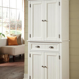 None - Nantucket White Distressed Finish Pantry - This Nantucket Pantry is constructed of hardwood and engineered woods in a Sanded and Distressed White Finish. This furniture's features include storage drawer,two cabinet doors with two adjustable shelves and antique brushed nickel hardware.