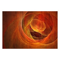 Emerging, Limited Edition, Photograph - Emerge into the world of digitized abstract artwork with this multilayered print from artist Tracy Mewmaw. The warm, muted tones of the piece lends itself perfectly to your living, dining or bedroom space. A limited edition series of 100 ensures that this is an affordable piece of art that only a handful of collectors can enjoy.