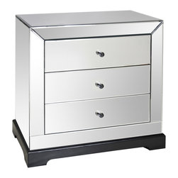 "Worlds Away - Worlds Away Mirrored Chest - This Worlds Away mirrored chest captures effortless elegance. Refined with beveled edges, the classic piece delivers the transitional bedroom sophisticated storage. 33""W x 21""D x 32""H; Three drawers run on glides; Matte black base"