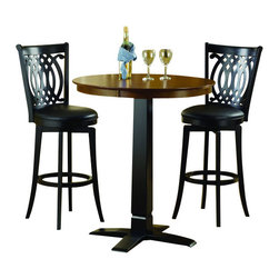 """Hillsdale Furniture - Hillsdale Dynamic Designs 5-Piece Pub Table Set with Van Draus Stools - Who says fabulous designer looks come only at designer prices? the Hillsdale furniture Dynamic Designs bistro collection offers any home owner the opportunity to add style to their homes with out breaking the bank. The 36"""" diameter table is available  in either all brown cherry finish or in a two-toned brown cherry top with black base, lending itself to a myriad of looks as you choose the matching swivel stool that will best suit your home."""