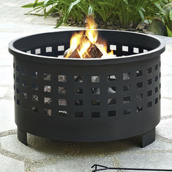 Crosley - Basket Weave Hudson Fire Pit - Featuring a deep bowled pit and a punched lattice pattern to ventilate the fire, this fire pit is an outstanding addition to backyard décor.   Includes fire pit, mesh spark arrestor and fire poker 15'' W x 25'' H x 25'' D Steel Assembly required Imported