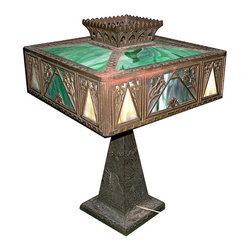 Antique- Consigned Cast Bronze & Iron Table Lamp with Stained Glass Shades - Height: 21 in. (53.34 cm)