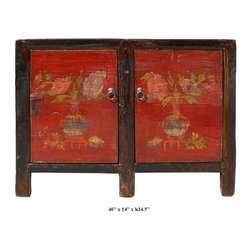 Mongolian Red Lacquer Vases & Flowers Pattern Side Table Cabinet - Asian inspired furniture  xchinese furniture  xconsole table  xRed carving table  xsofa table  xstorage table  xTV console  x