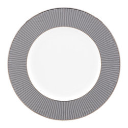 Lenox - Lenox Silver Sophisticate Accent Plate - As stylish as silver jewelry,this tailored dinnerware pattern is bordered in a textured weave design that resembles a silver mesh. Sophisticated as a night on the town,this white bone china accent plate is lavishly rimmed in precious platinum.