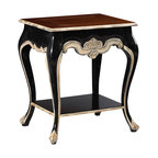 French Heritage - Duval End Table, Black with Ivory Trim - Toward a more perfect union: the marriage of old world charm and new age necessity. You need a table to make a statement without overpowering the conversation, to maintain your personal effects with stylish grace, or possibly keep a little romance alive in a modern world. The Duval end table was made for this.